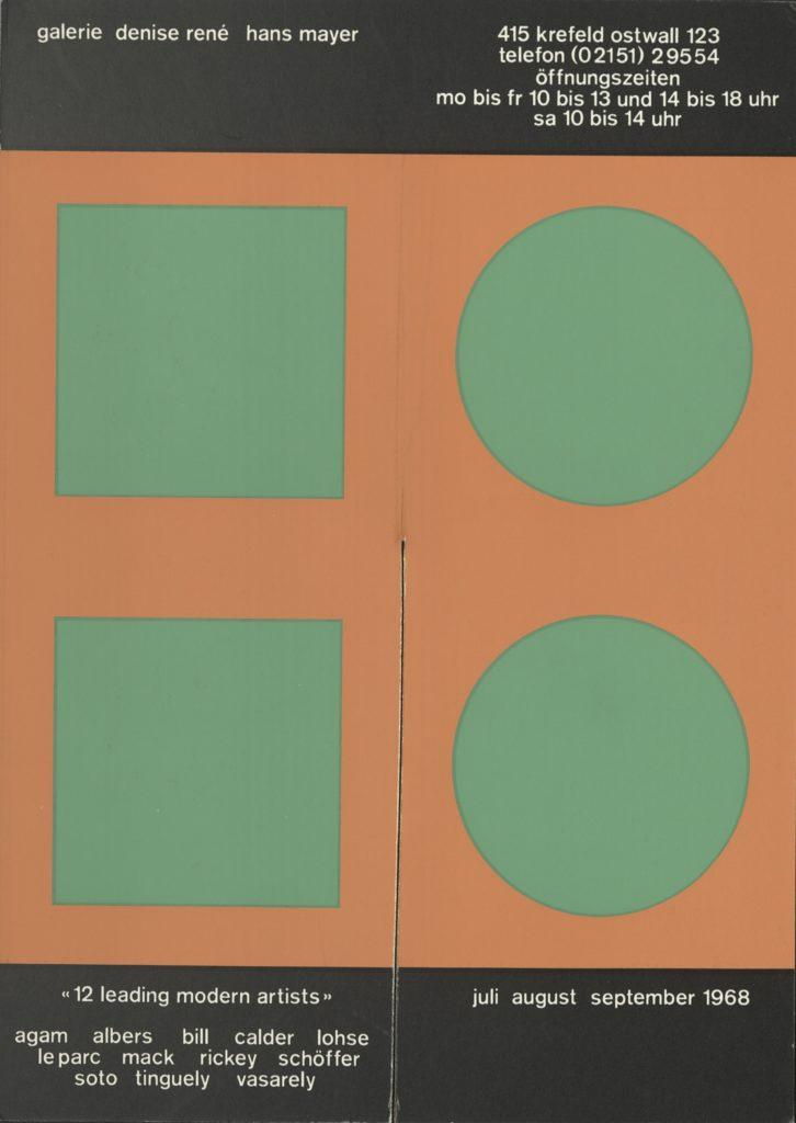 "Galerie Denise René & Hans Mayer, ""12 Leading Modern Artists"", Krefeld, 1968 (Invitation) ; Archiv der Avantgarden, Staatliche Kunstsammlungen Dresden"