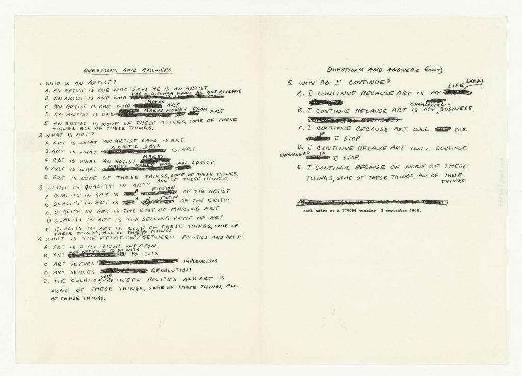 Carl Andre, A 37 90 89, Antwerpen, 1969 (notes); Sammlung Marzona, Kunstbibliothek – Staatliche Museen zu Berlin
