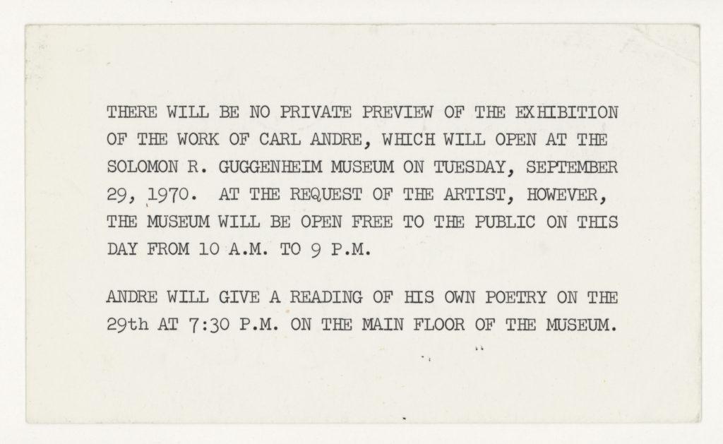 Carl Andre, The Solomon Guggenheim Museum, New York, 1970 (invitation); Sammlung Marzona, Kunstbibliothek – Staatliche Museen zu Berlin