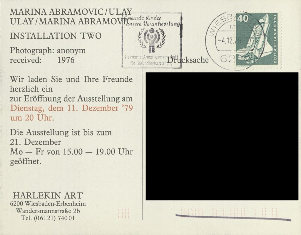 Marina Abramović / Ulay, INSTALLATION TWO, Harlekin Art, Wiesbaden, 1979 (invitation card, photograph anonym) SKD © VG Bild-Kunst, Bonn