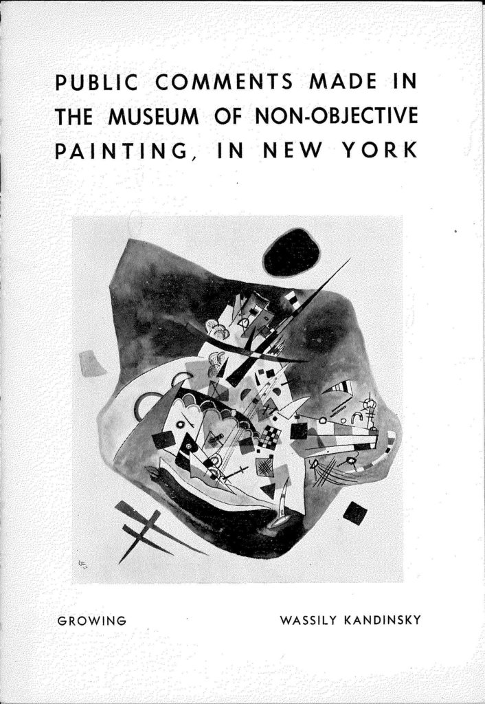 Public Comments made in the museum of non-objective painting in New York, Cover by Wassily Kandinsky (catalogue)