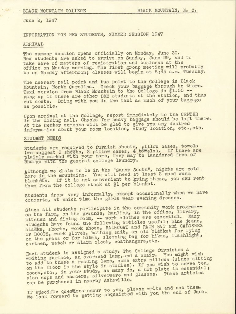 Information sheet for students enrolled at Black Mountain College from 1947