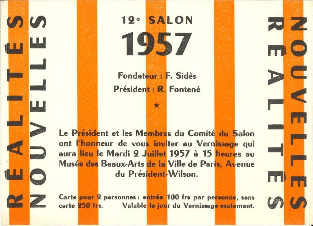 12. Salon 1957, Réalités Nouvelles, Musée des Beaux-Arts, Paris (Invitation) © SKD