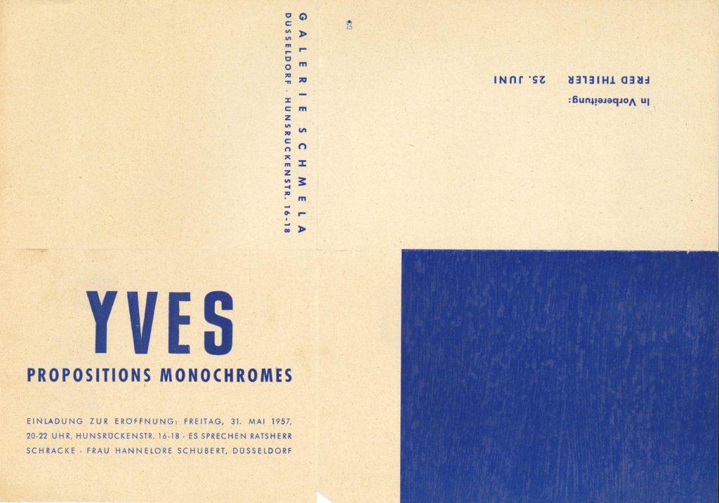 Yves Klein, Proposition Monochrome, Galerie Schmela, Düsseldorf, 1957 (Invitation) © SKD