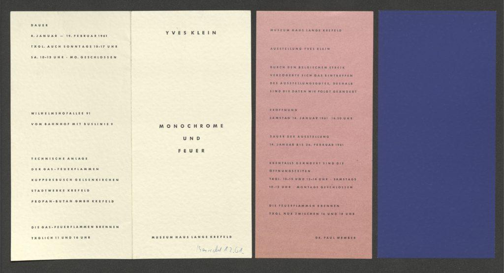 """Yves Klein """"Monochrome und Feuer"""", Museum Haus Lange Krefeld, 1961; Archiv der Avantgarden, Staatliche Kunstsammlungen Dresden © VG Bild-Kunst, Bonn"""