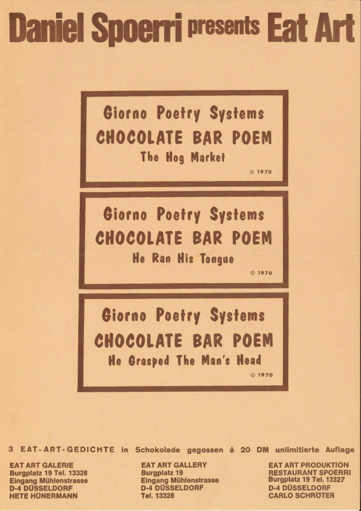 Eat Art Gallery by Daniel Spoerri, Eat Art Gedichte in Schokolade gegossen/Chocolate Bar Poems, 1970 (Poster) © SKD