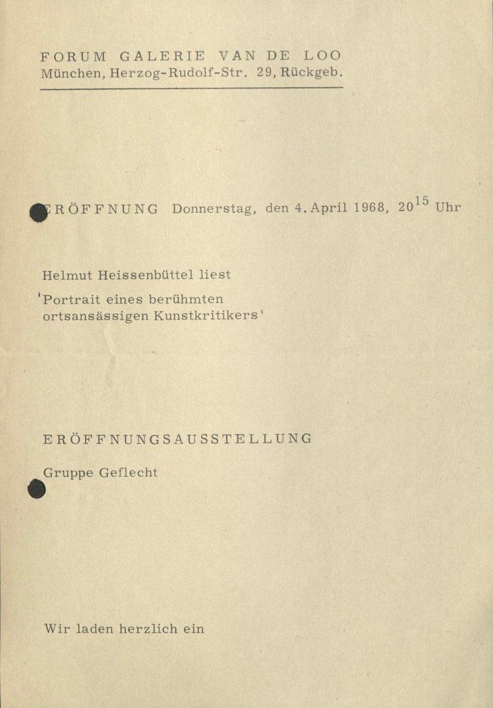 GRUPPE GEFLECHT, Galerie van den Loo, Munich 1968 (Invitation) © SKD