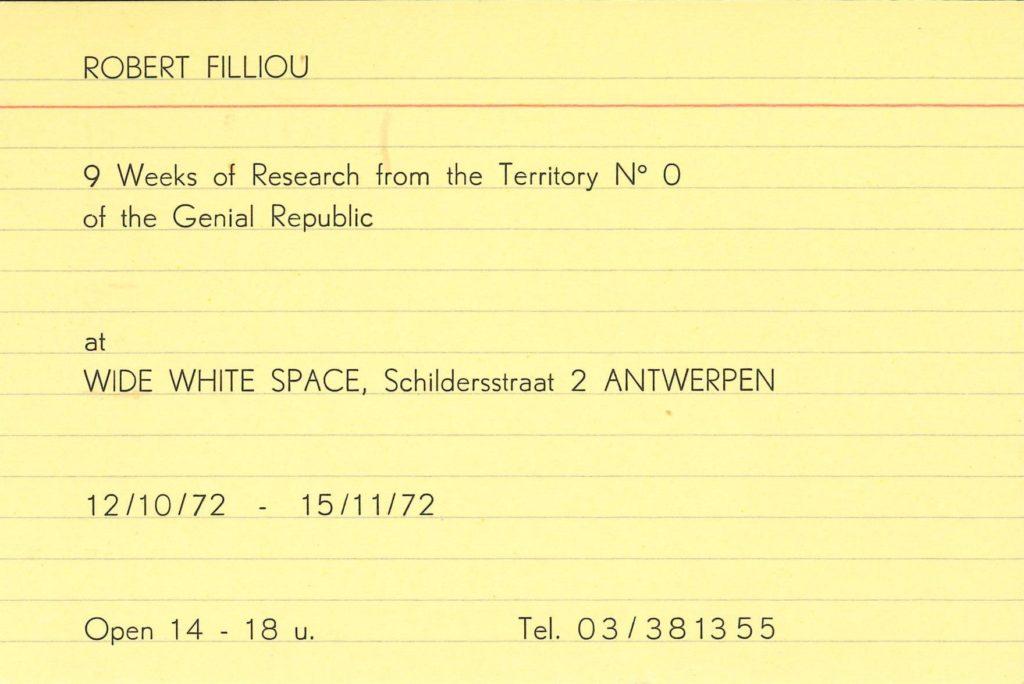 ROBERT FILLIOU, WIDE WHITE SPACE ANTWERP, 1972 (INVITATION) © SKD