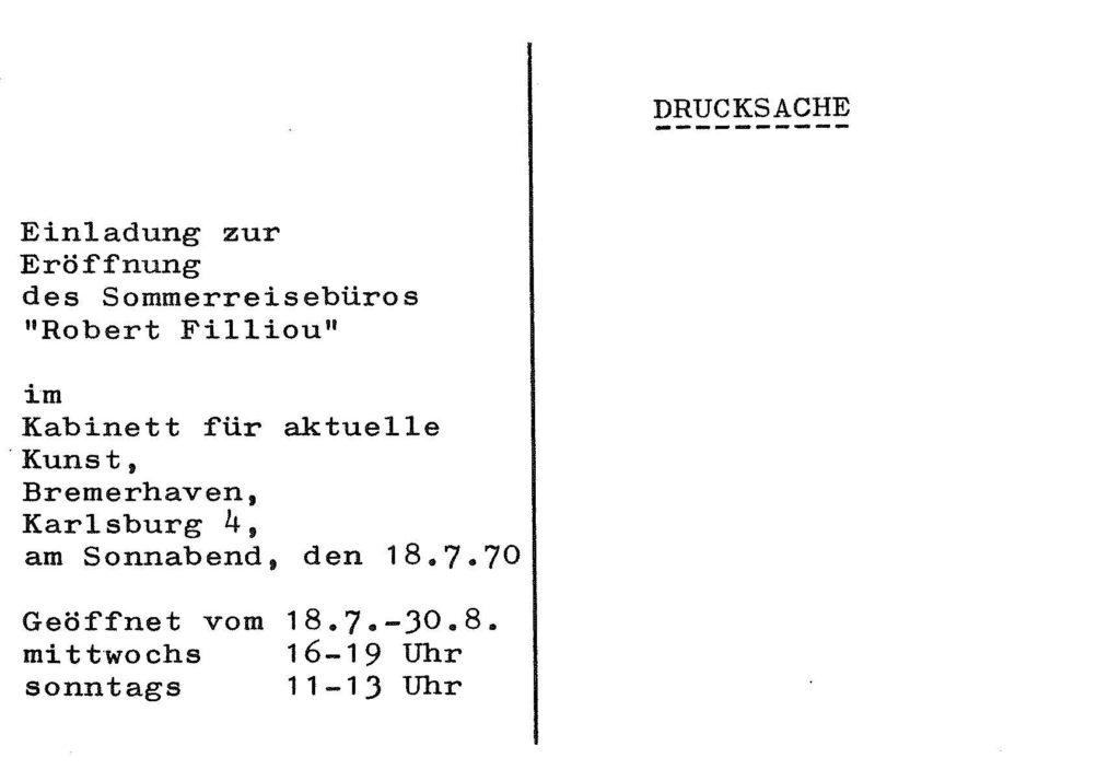 """""""SOMMERREISEBÜRO ROBERT FILLIOU"""", KABINETT FÜR AKTUELLE KUNST BREMERHAVEN, 18.7.1970 (Invitation) © SKD"""