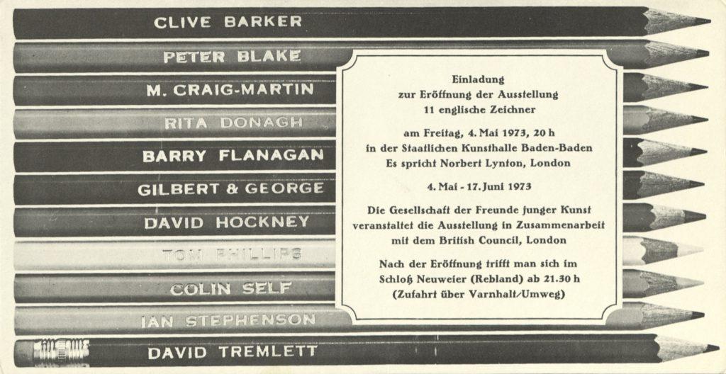 """""""11 Englische Zeichner at Kunsthalle Baden-Baden, 4.05.1973 (Invitation) © SKD"""
