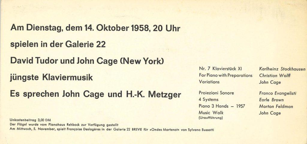 "John Cage, David Tudor ""jüngste Klaviermusik"", Galerie 22, Düsseldorf, 1958 (INVITATION) © SKD"