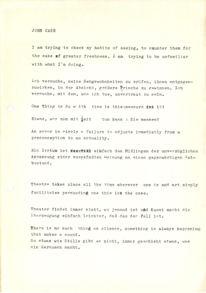 Quotes by John Cage, Archiv der Avantgarden; Archiv der Avantgarden, Staatliche Kunstsammlungen Dresden
