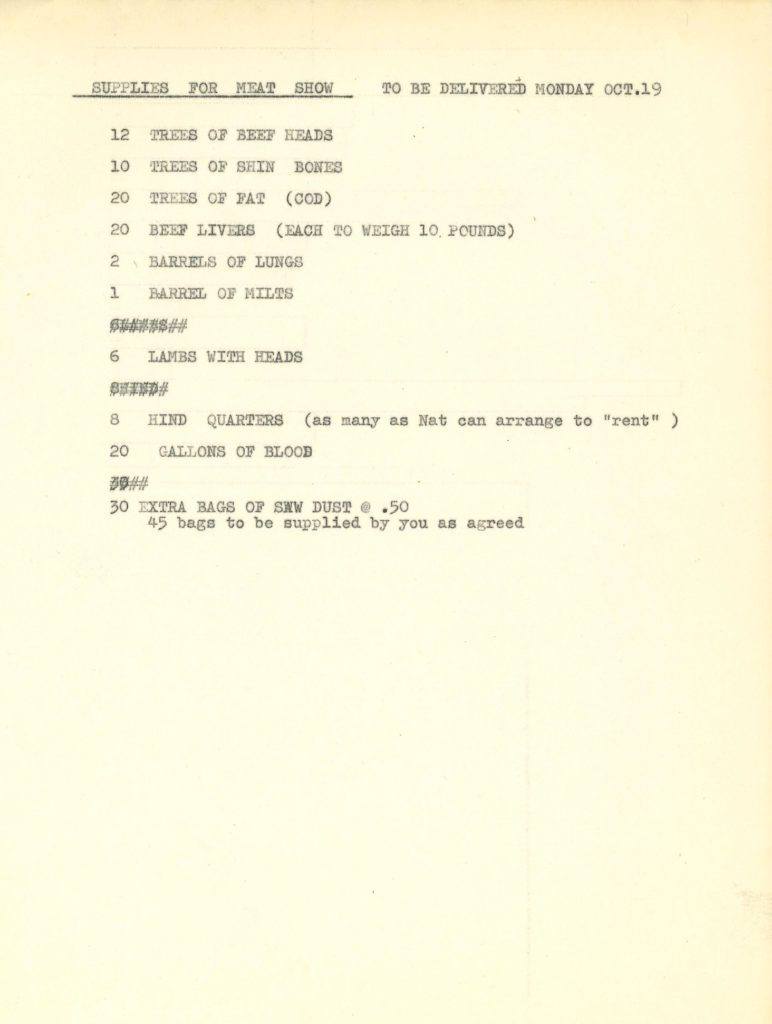 "Delford Brown, ""The Meat Show"", An Environment, 1964 (Notes by the artist) © SKD"