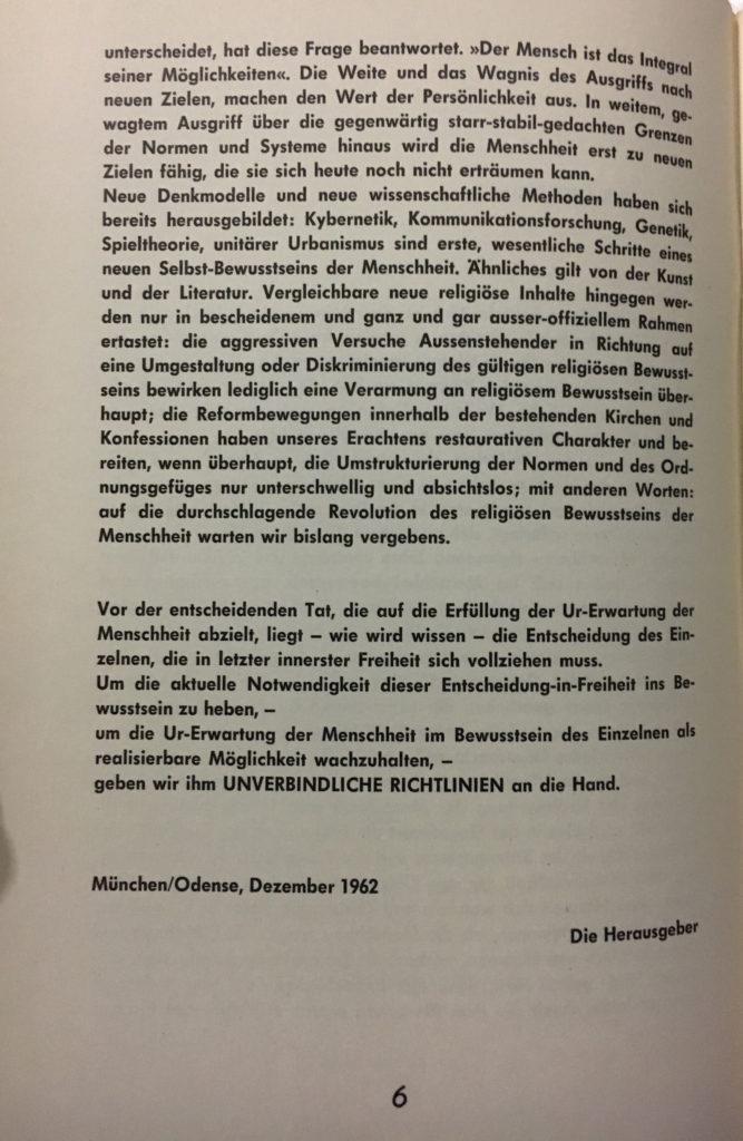 """SPUR / """"Unverbindliche Richtlinien"""" von Christofer Baldeney, Rodolphe Gasché und Dieter Kunzelmann - Kunzelmann Redaktion 1962 © SKD"""