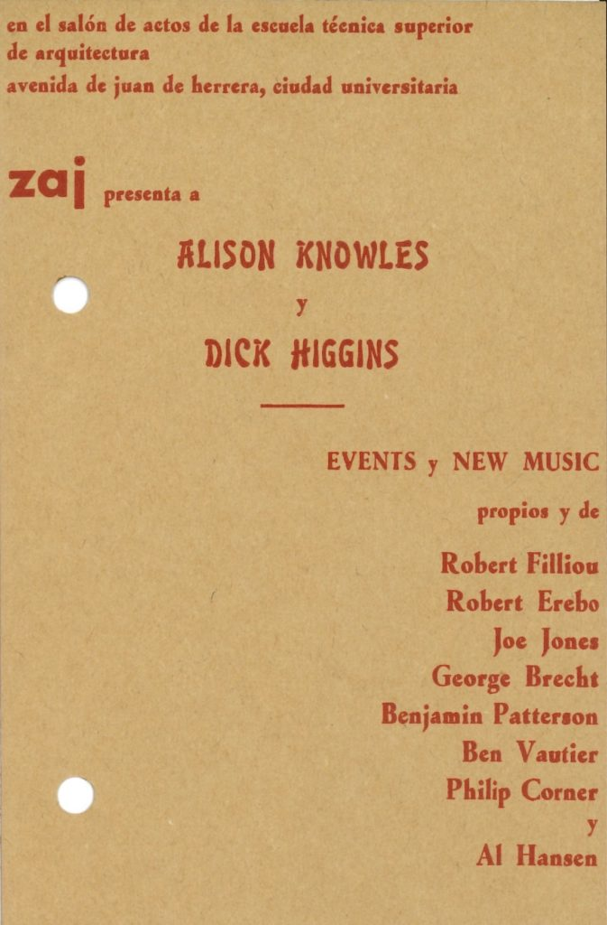 ZAJ presenta Alison Kowles & Dick Higgins, 1966, Madrid (Invitation); Archiv der Avantgarden, Staatliche Kunstsammlungen Dresden