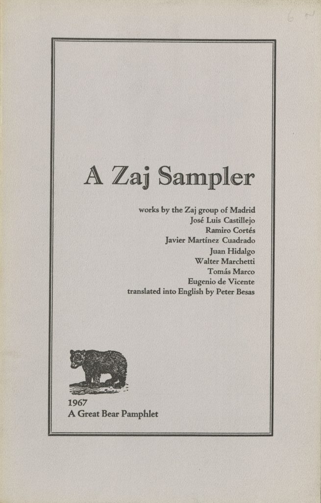 A ZAJ SAMPLER, 1967 ( A GREAT BEAR PAMPHLET)