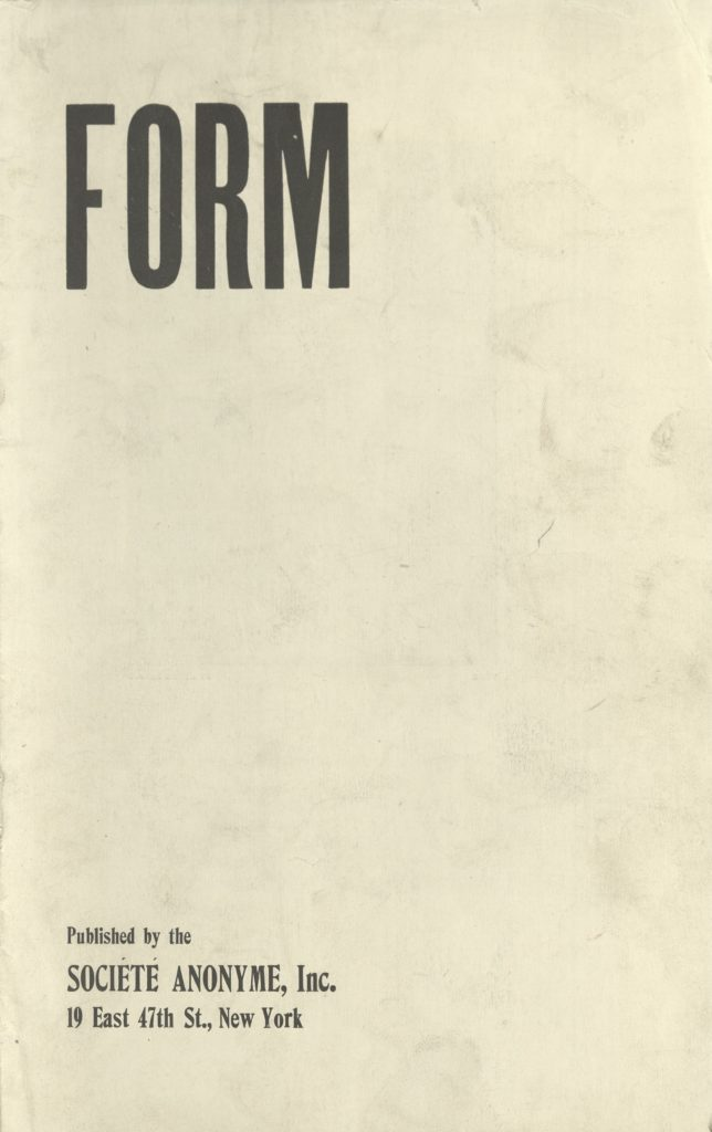 """Form"", published by Societe Anonyme, New York (Date Unkown)"