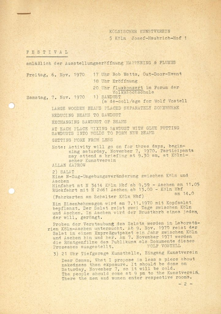 FLUXUS & HAPPENING, Kölnischer Kunstverein, 1970 (program); Archiv der Avantgarden, Staatliche Kunstsammlungen Dresden