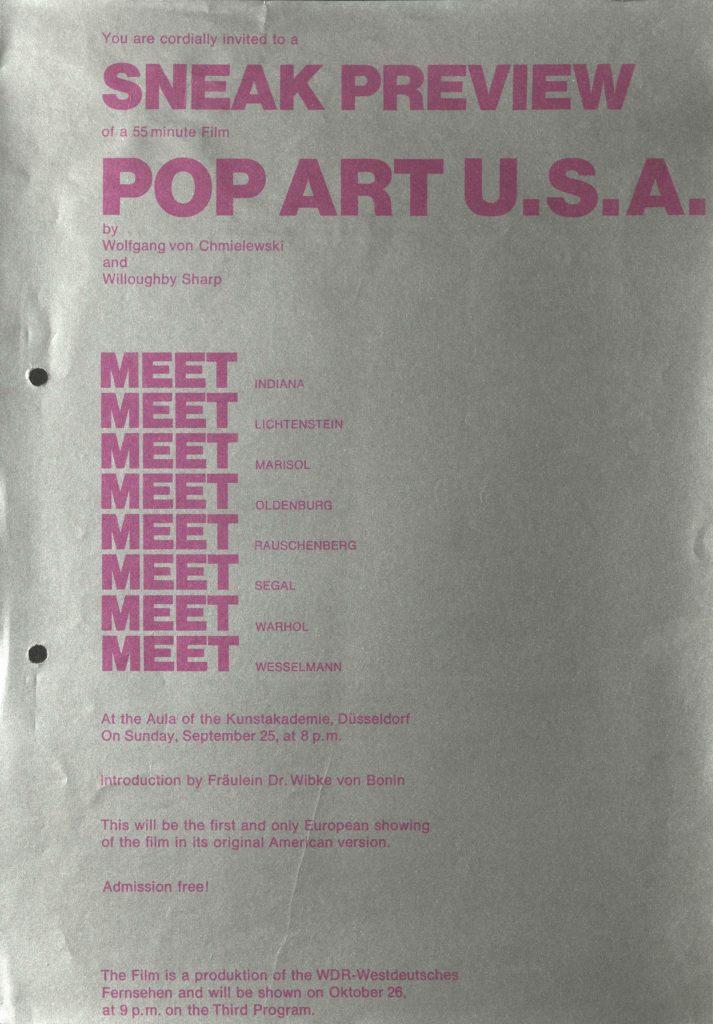 "Screening ""POP ART USA"" mit Wolfgang v. Chmiedlewski/Kunstakademie DDorf, 1966 (announcement) © SKD"