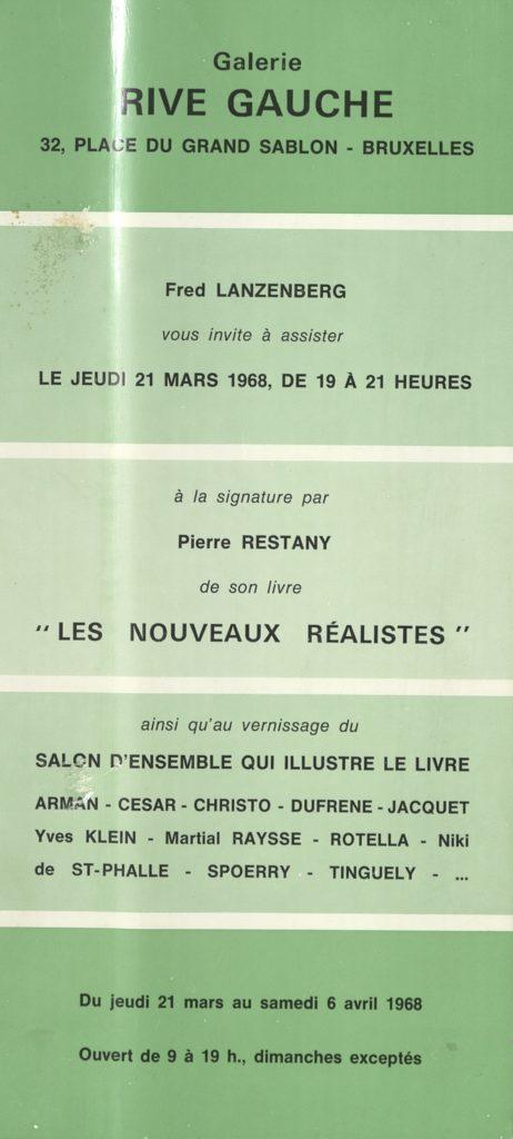 Les Nouveaux Réalistes, A la signature par Pierre Restany,Galerie Rive Gauche, Brüssel, 1968 (INVITATION) © SKD