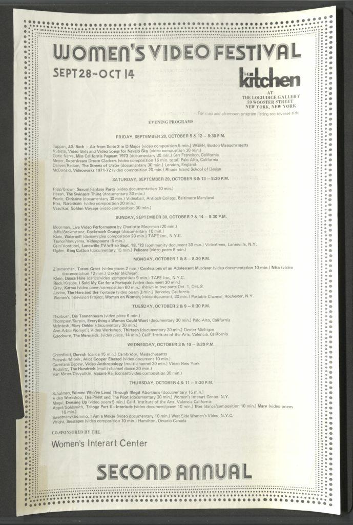 """WOMEN'S VIDEO FESTIVAL"" Interart Center / The Kitchen, 28.09-14-10.1973 (program) © SKD"