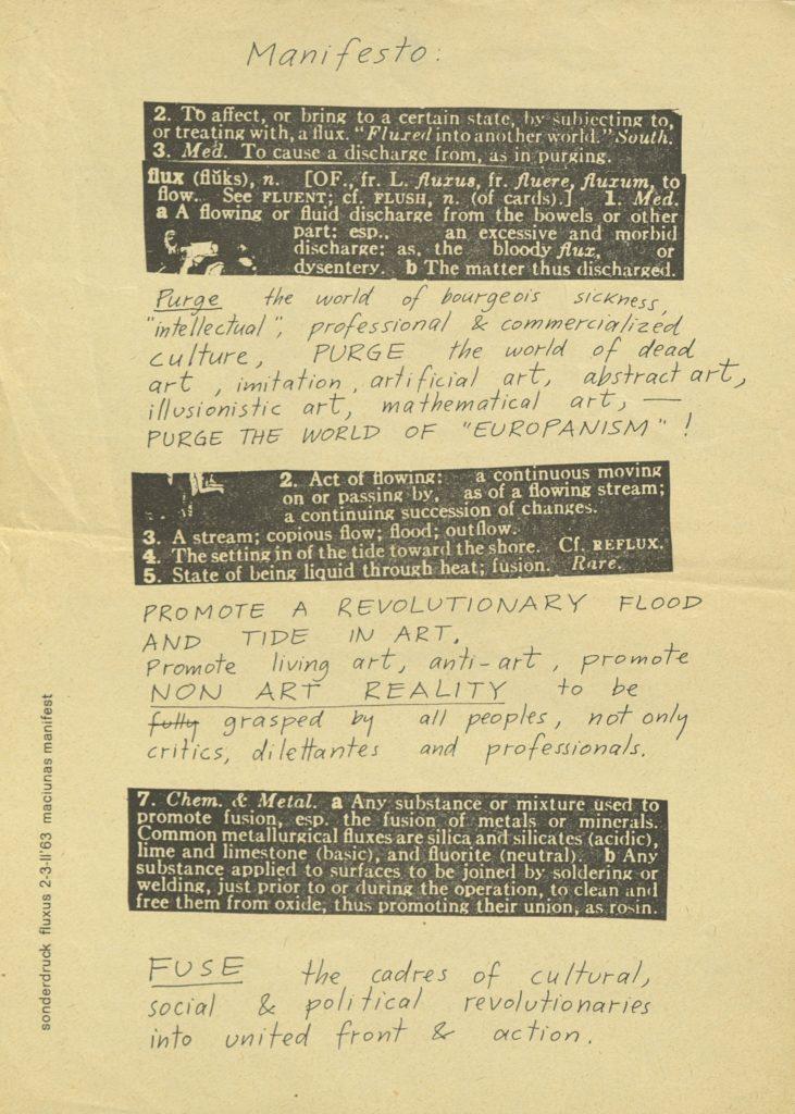 George Macunias, Fluxus Manifest, 1963, Archiv der Avntgarden, Staatliche Kunstsammlungen Dresden