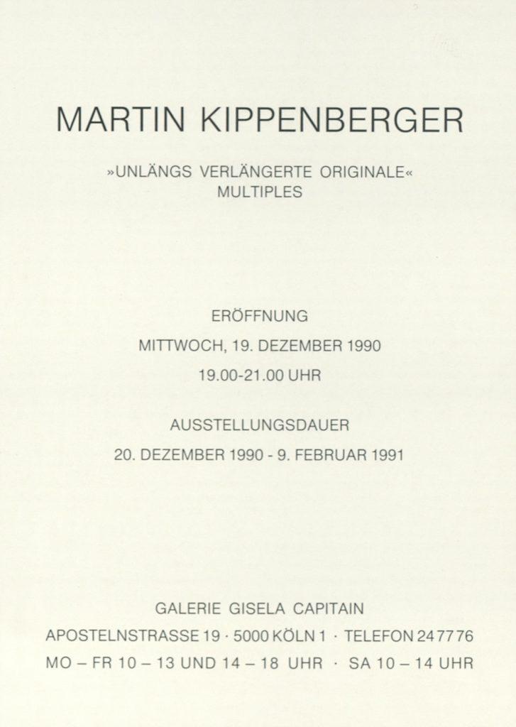 """Martin Kippenberger """"Unlängs veränderte Originale"""", Galerie Gisela Capitain, Köln 1990, (Invitation) © 2019 Estate Martin Kippenberger, Galerie Gisela Capitain, Cologne; Archiv der Avantgarden, Staatliche Kunstsammlungen Dresden"""