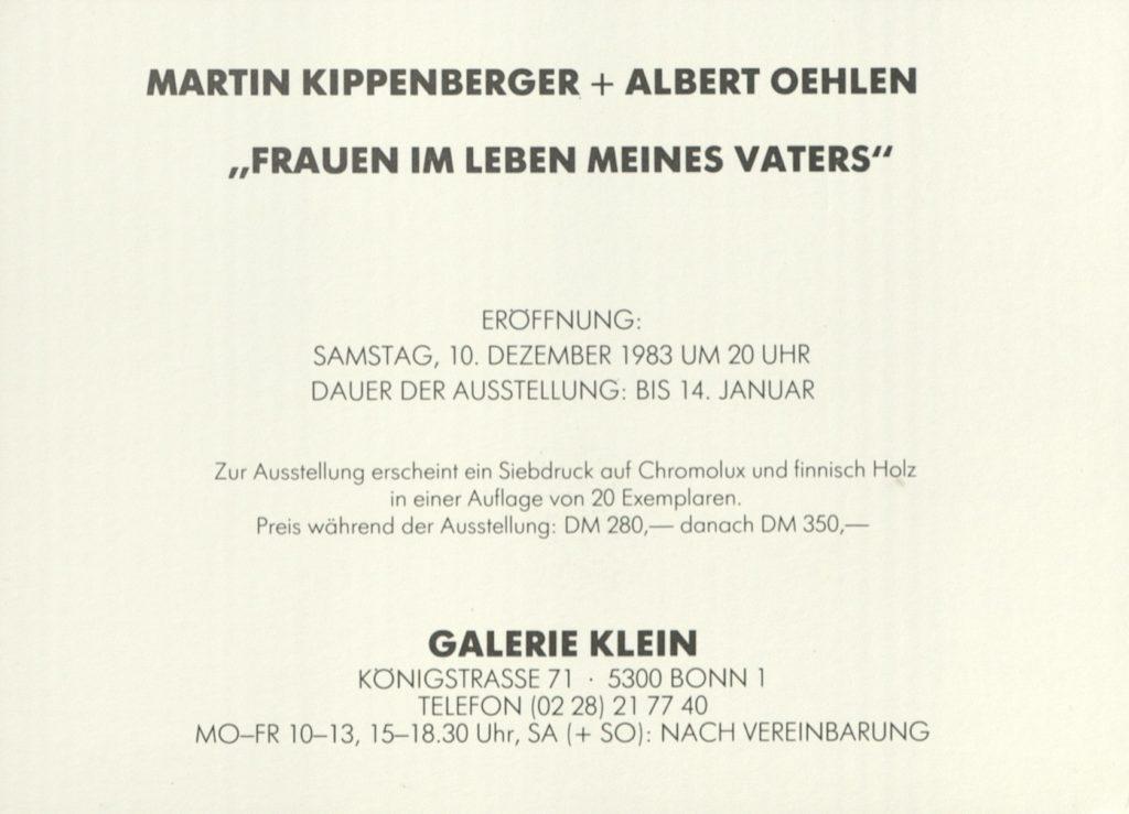 """Martin Kippenberger und Albert Oehlen, """"Frauen im Leben meines Vaters"""", Galerie Klein, Bonn, 1983 © 2019 Estate Martin Kippenberger, Galerie Gisela Capitain, Cologne; © VG Bild Kunst, Bonn; Archiv der Avantgarden, Staatliche Kunstsammlungen Dresden"""