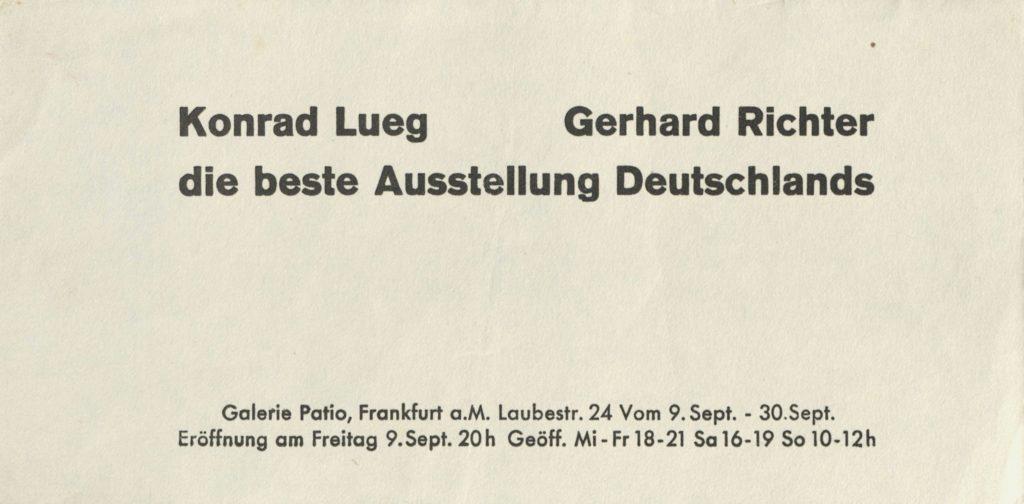 """Konrad Lueg, Gerhard Richter, """"Die beste Ausstellung Deutschland, Galerie Patio, Frankfurt a.M. 1966 (Invitation) Archiv der Avantgarden, Staatliche Kunstsammlungen Dresden"""