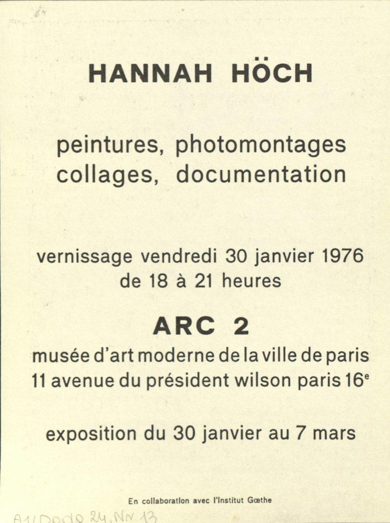 Hannah Höch, ARC 2 PARIS, 1976 (Invitation) Archiv der Avantgarden, Staatliche Kunstsammlungen Dresden