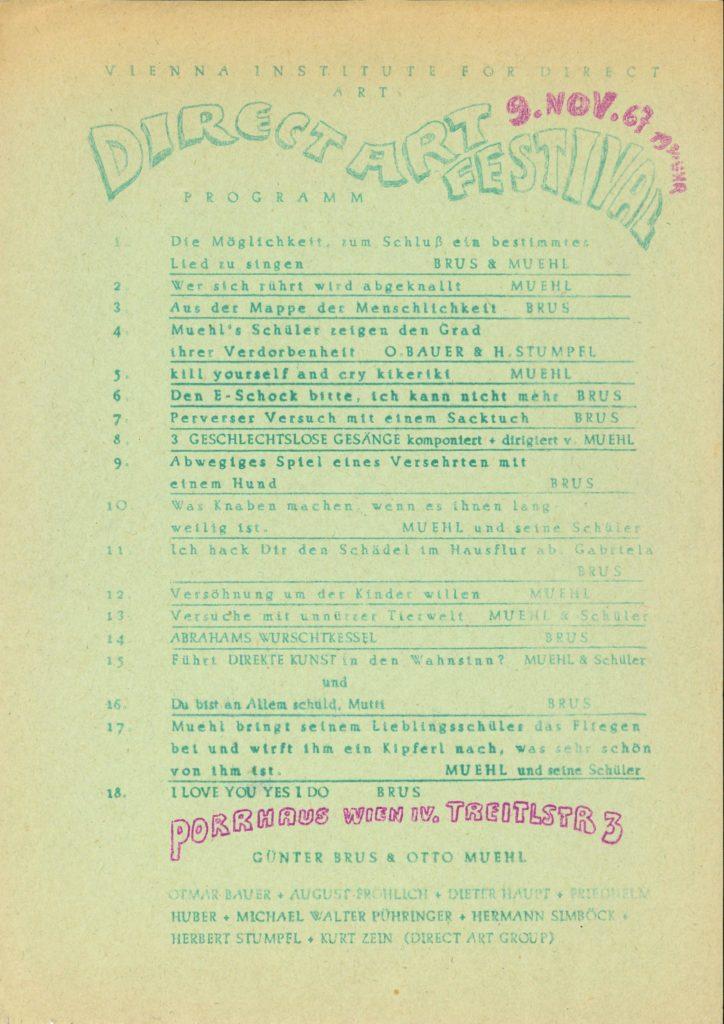 """""""Direct Art Festival 1967"""", Otto Muehl und Grünther Brus, (program); Archiv der Avantgarden, Staatliche Kunstsammlungen Dresden"""
