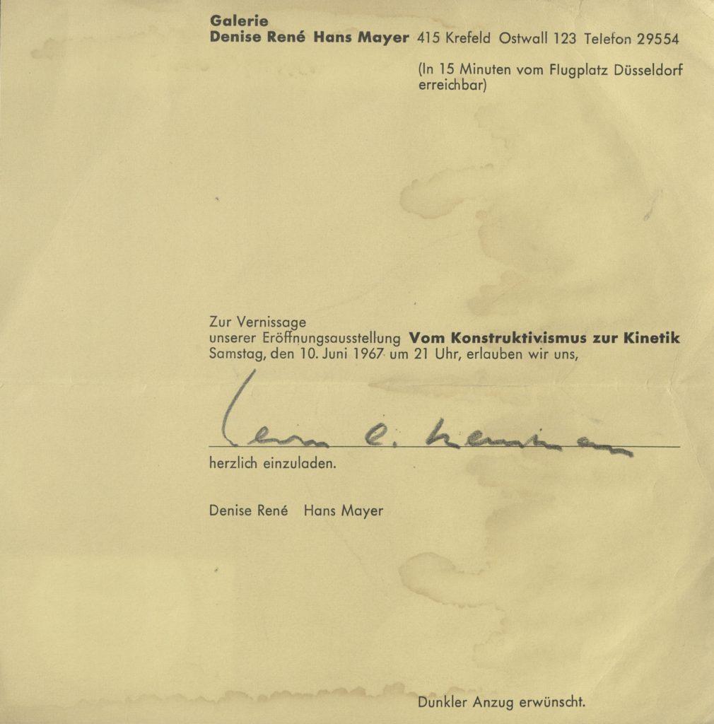 Vom Konstruktivismus zur Kinetik, Krefeld, 1967 (invitation) ; Archiv der Avantgarden, Staatliche Kunstsammlungen Dresden