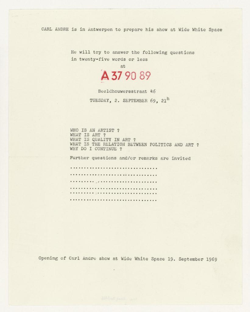 Carl Andre, A 37 90 89, Antwerpen, 1969 (invitation); Sammlung Marzona, Kunstbibliothek – Staatliche Museen zu Berlin