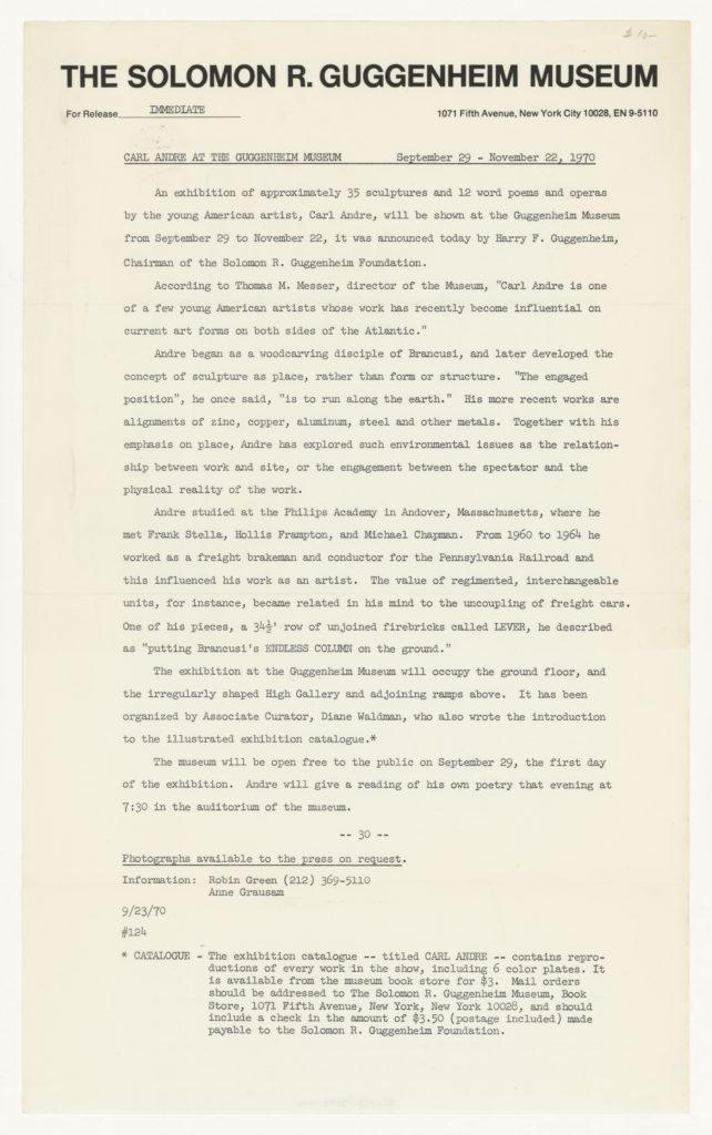 Carl Andre, The Solomon Guggenheim Museum, New York, 1970 (press release); Sammlung Marzona, Kunstbibliothek – Staatliche Museen zu Berlin