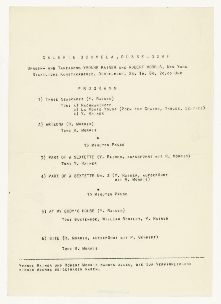 Dance program Yvonne Rainer and Robert Morris, Düsseldorf 1964 ; Sammlung Marzona, Kunstbibliothek – Staatliche Museen zu Berlin
