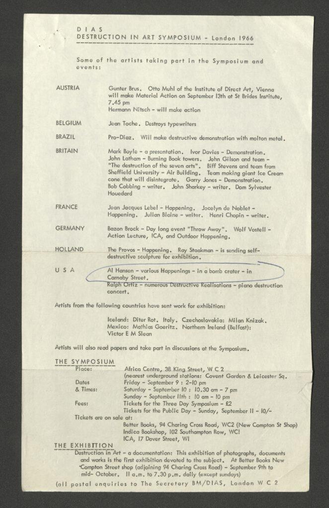 """""""DIAS. DESTRUCTION IN ART"""", London 1966 (Program Flyer); ; Archiv der Avantgarden, Staatliche Kunstsammlungen Dresden"""