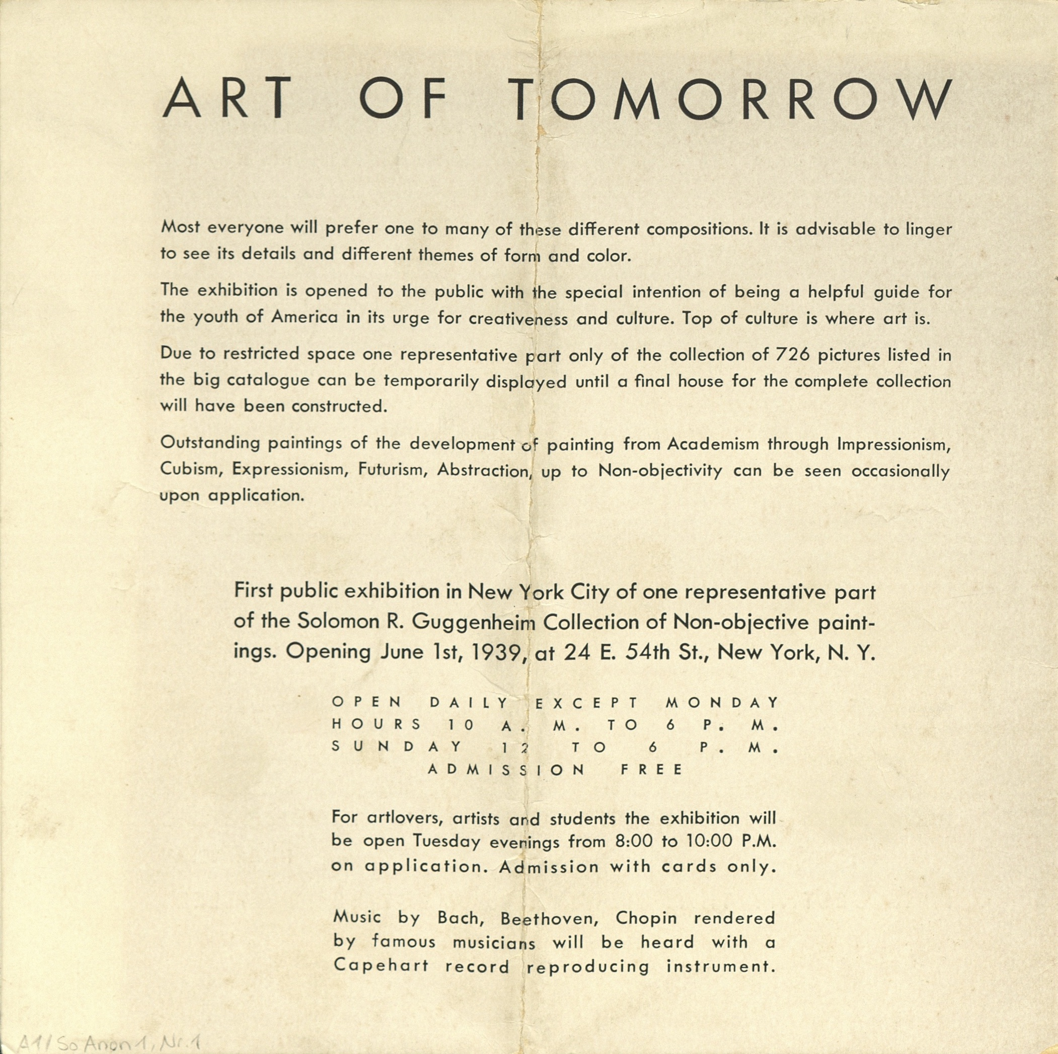 Art Of Tomorrow, Museum of Non-Objective Painting (Guggenheim), New York 1939 (invitation); Archiv der Avantgarden, Staatliche Kunstsammlungen Dresden