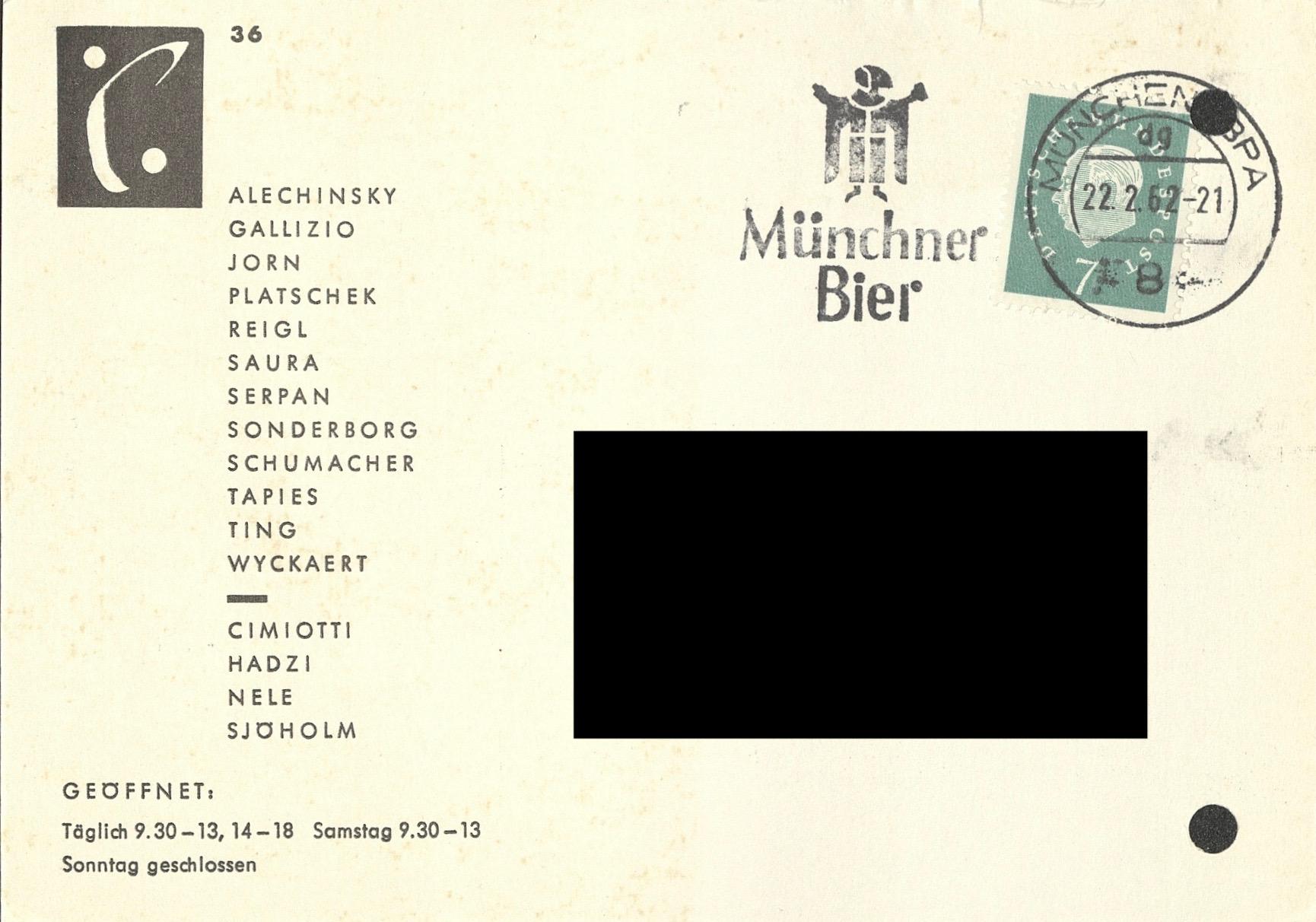 GRUPPE SPUR – Ölbilder und Skupturen, Galerie van den Loo, Munich, 1962 (INVITATION); Archiv der Avantgarden, Staatliche Kunstsammlungen Dresden