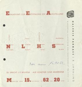 Nele, Laubiès, Hahn, Schriefers, Galerie Parnass, Wuppertal 1962 (Invitation); Archiv der Avantgarden, Staatliche Kunstsammlungen Dresden