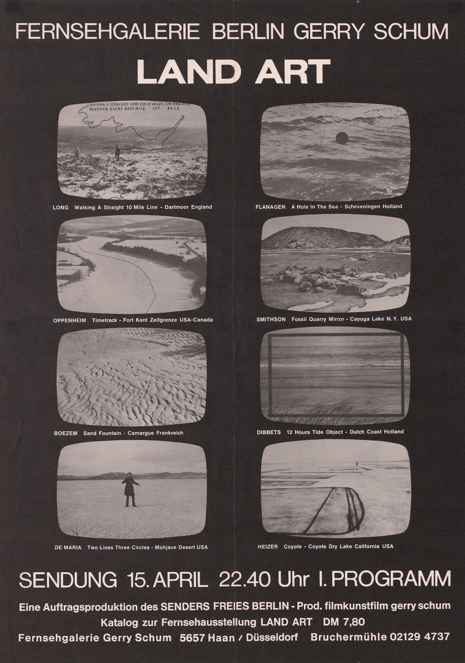Gerry Schum, Fernsehgalerie Berlin, Land Art, Sender Freies Berlin, 1969 (Poster); Sammlung Marzona, Kunstbibliothek – Staatliche Museen zu Berlin