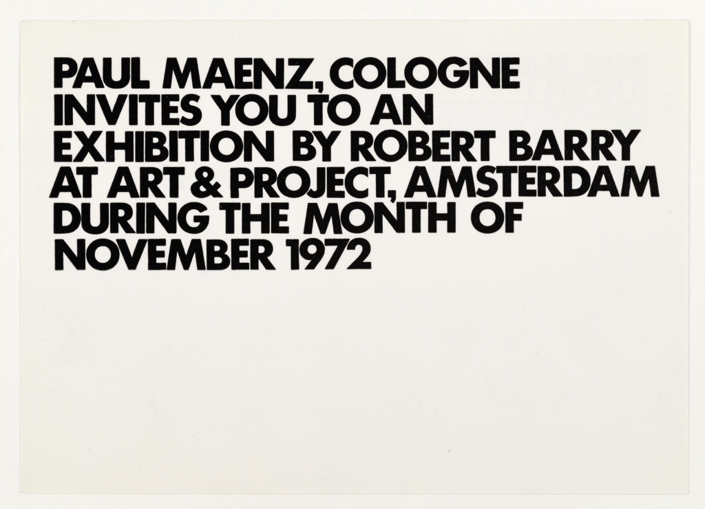 Robert Barry, Invitation Project, Paul Maenz, Cologne invites to art & project, Amsterdam November 1972 (Invitation); Sammlung Marzona, Kunstbibliothek – Staatliche Museen zu Berlin