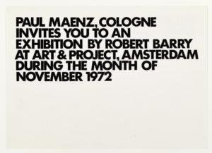 Robert Barry, Invitation Project, Paul Maenz, Cologne invites to art & project, Amsterdam November 1972 (Invitation); Sammlung Marzona, Kunstbibliothek – Staatliche Museen zu Berlin