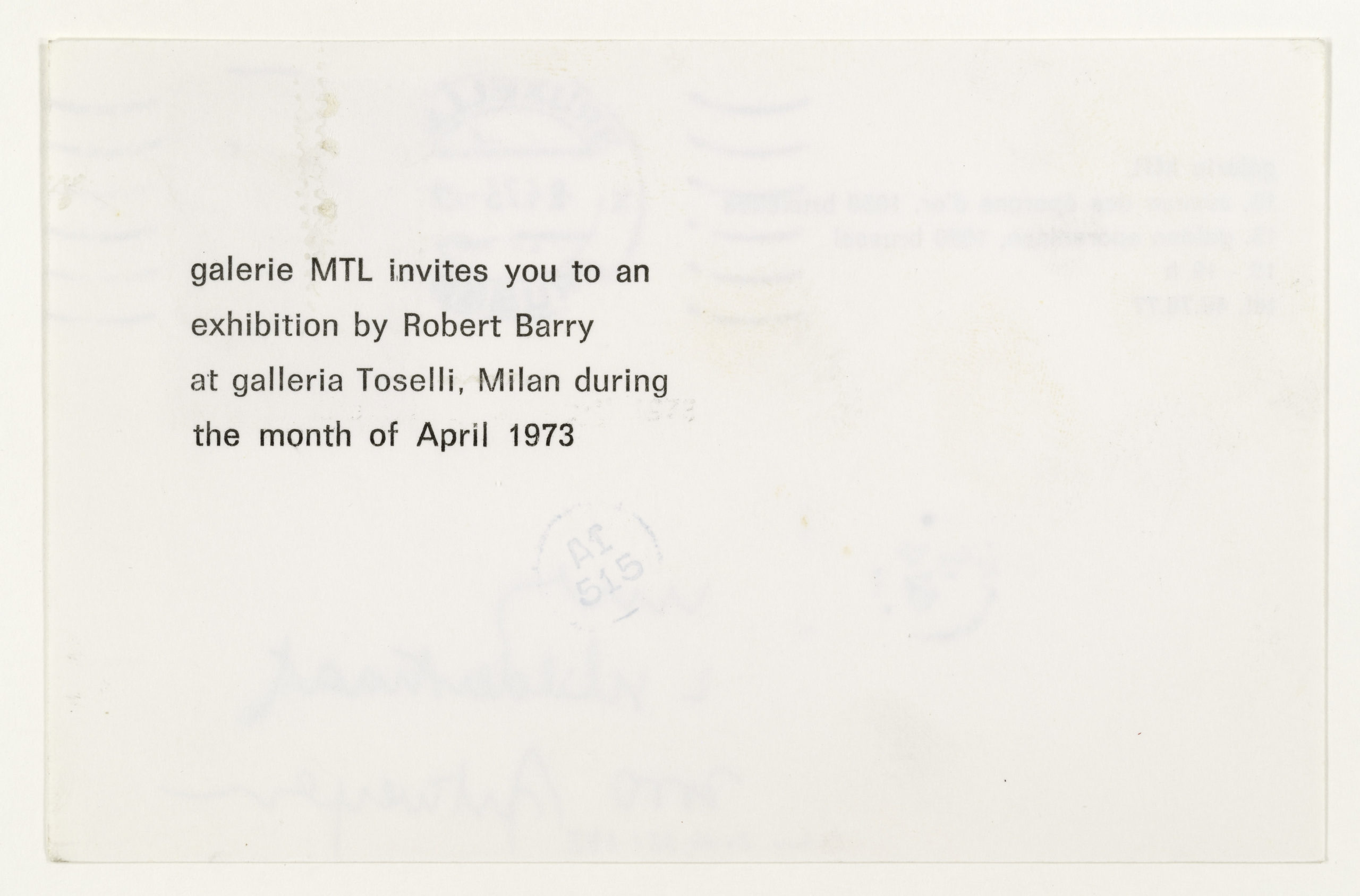 Robert Barry, Invitation Project, MTL Brussels, Belgium invites to Galleria Toselli, Milan, March 1973 (Invitation); Sammlung Marzona, Kunstbibliothek – Staatliche Museen zu Berlin