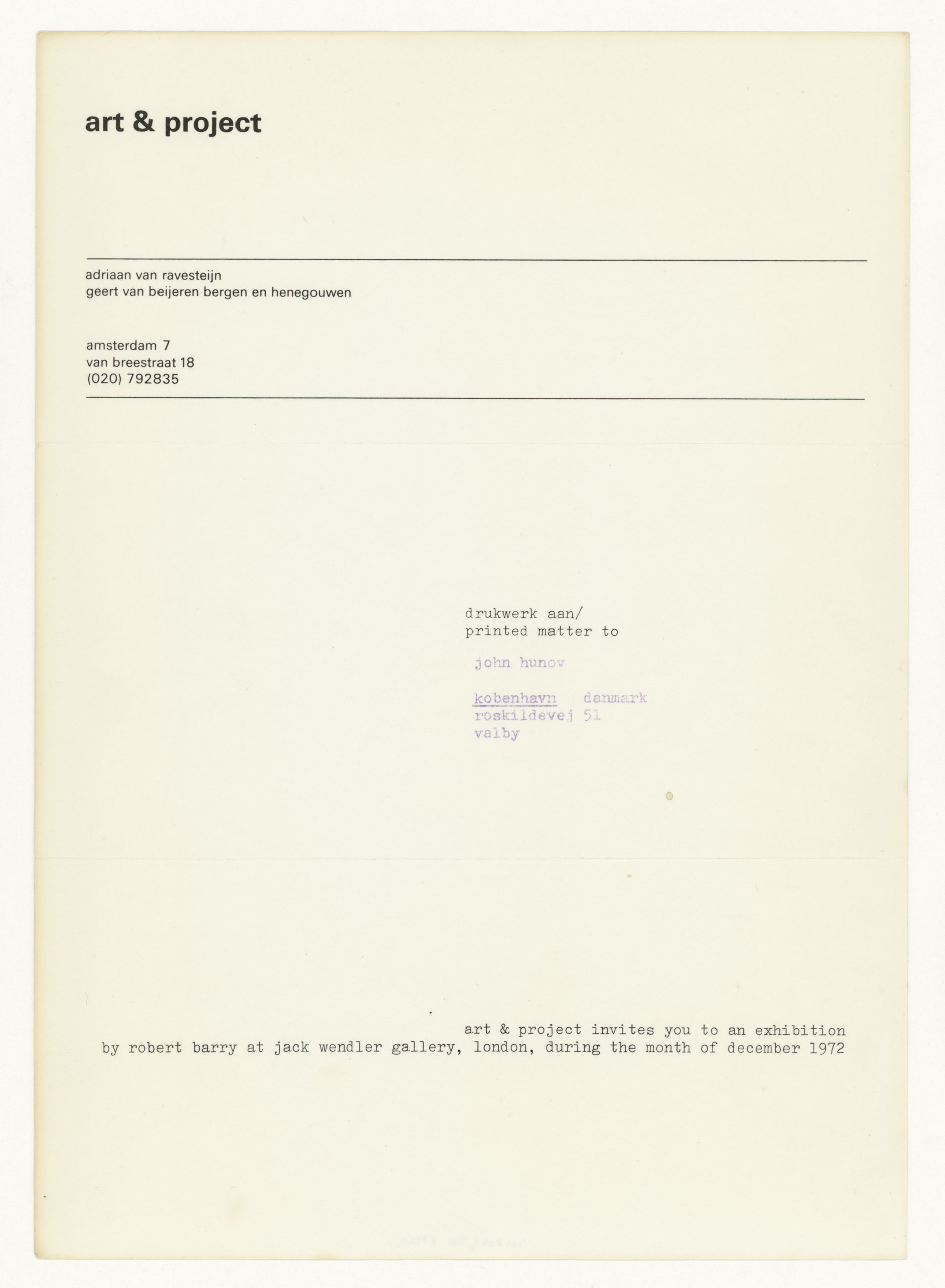 Robert Barry, Invitation Project, art & project, Amsterdam invites to Jack Wendler, London December 1972 (Invitation); Sammlung Marzona, Kunstbibliothek – Staatliche Museen zu Berlin
