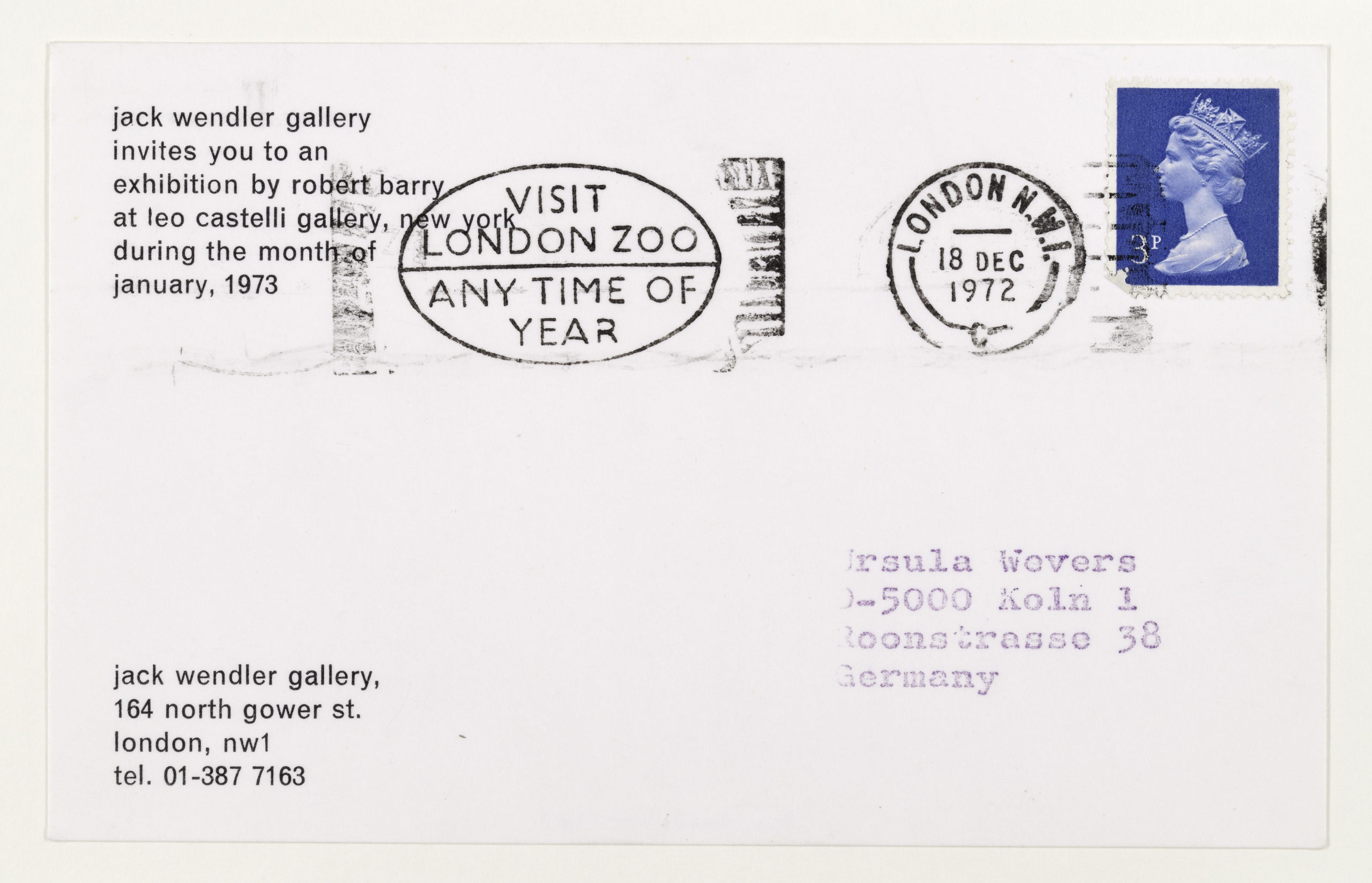 Robert Barry, Invitation Project, Jack Wendler, London invites to Leo Castelli, New York January 1973 (Invitation); Sammlung Marzona, Kunstbibliothek – Staatliche Museen zu Berlin