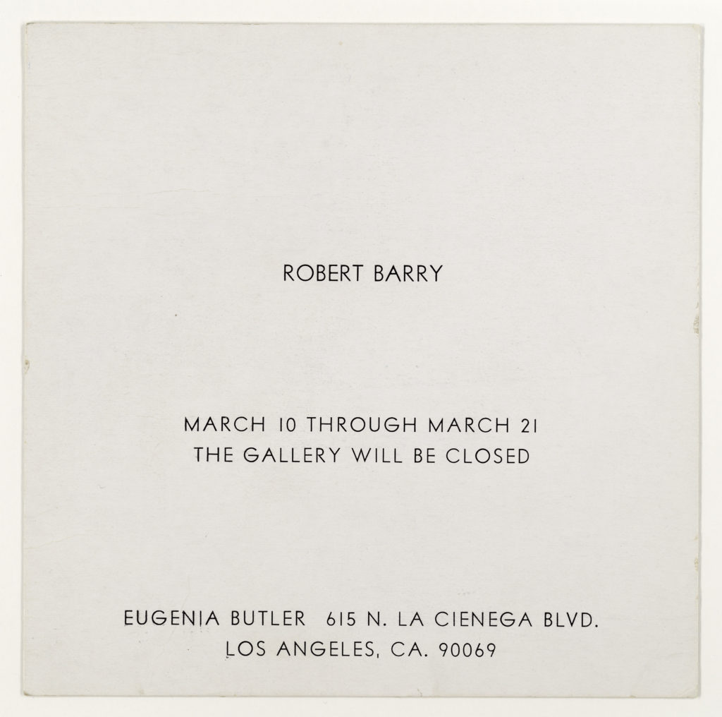 Robert Barry, Closed Gallery Project, Eugenia Butler, Los Angeles, March 1969 (Invitation); Sammlung Marzona, Kunstbibliothek – Staatliche Museen zu Berlin
