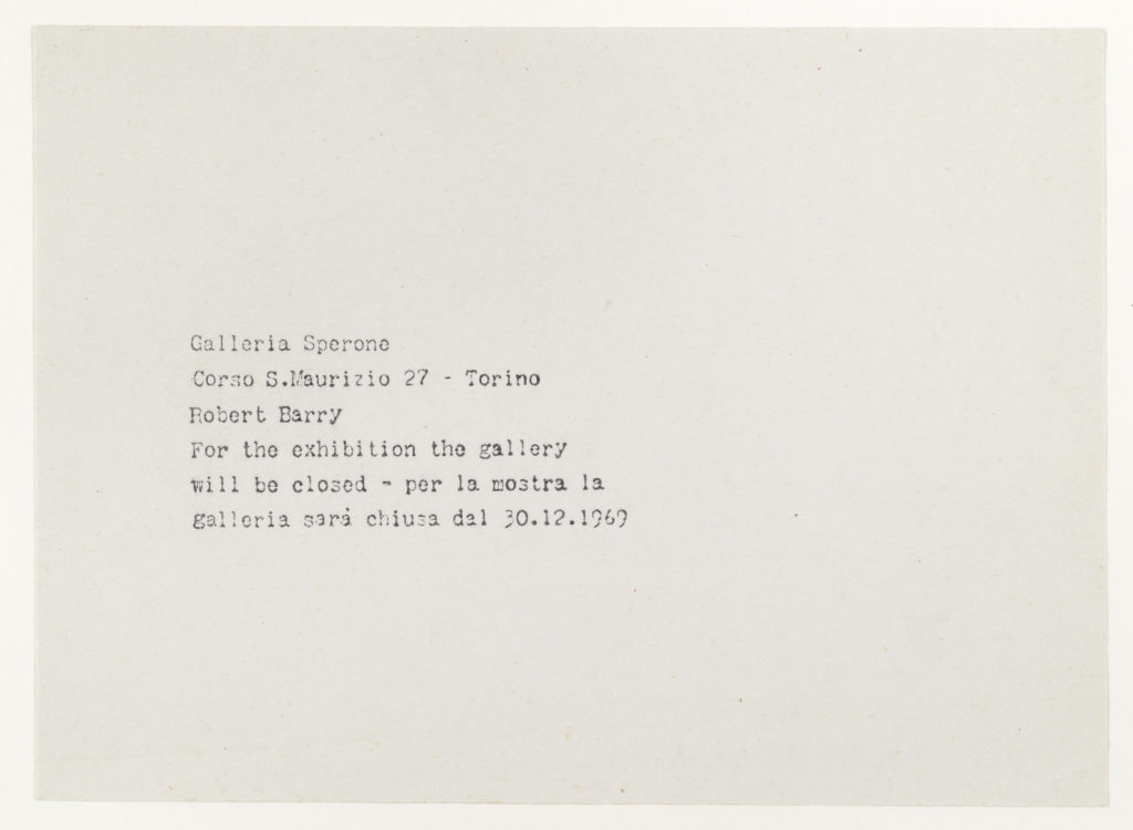 Robert Barry, Closed Gallery Project, Galleria Sperone, Turino, December 1969 (Invitation); Sammlung Marzona, Kunstbibliothek – Staatliche Museen zu Berlin