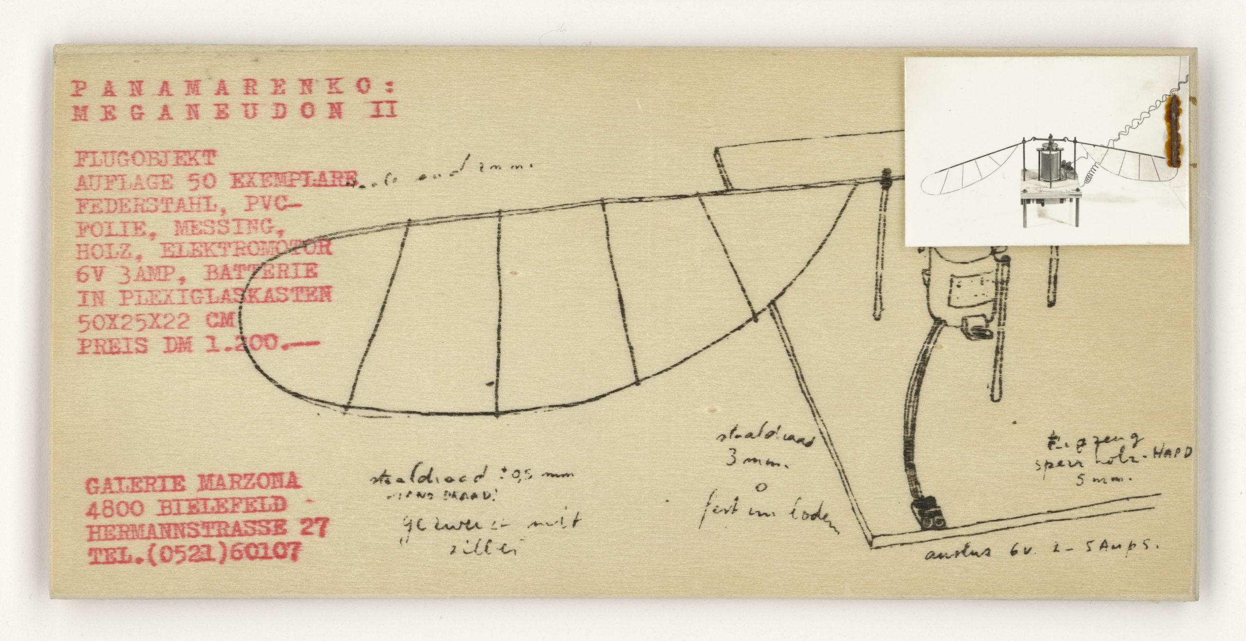 Panamarenko,  Meganeudon II, Galerie Egidio Marzona Bielefeld, 1973 (invitation / Edition); Sammlung Marzona, Kunstbibliothek – Staatliche Museen zu Berlin