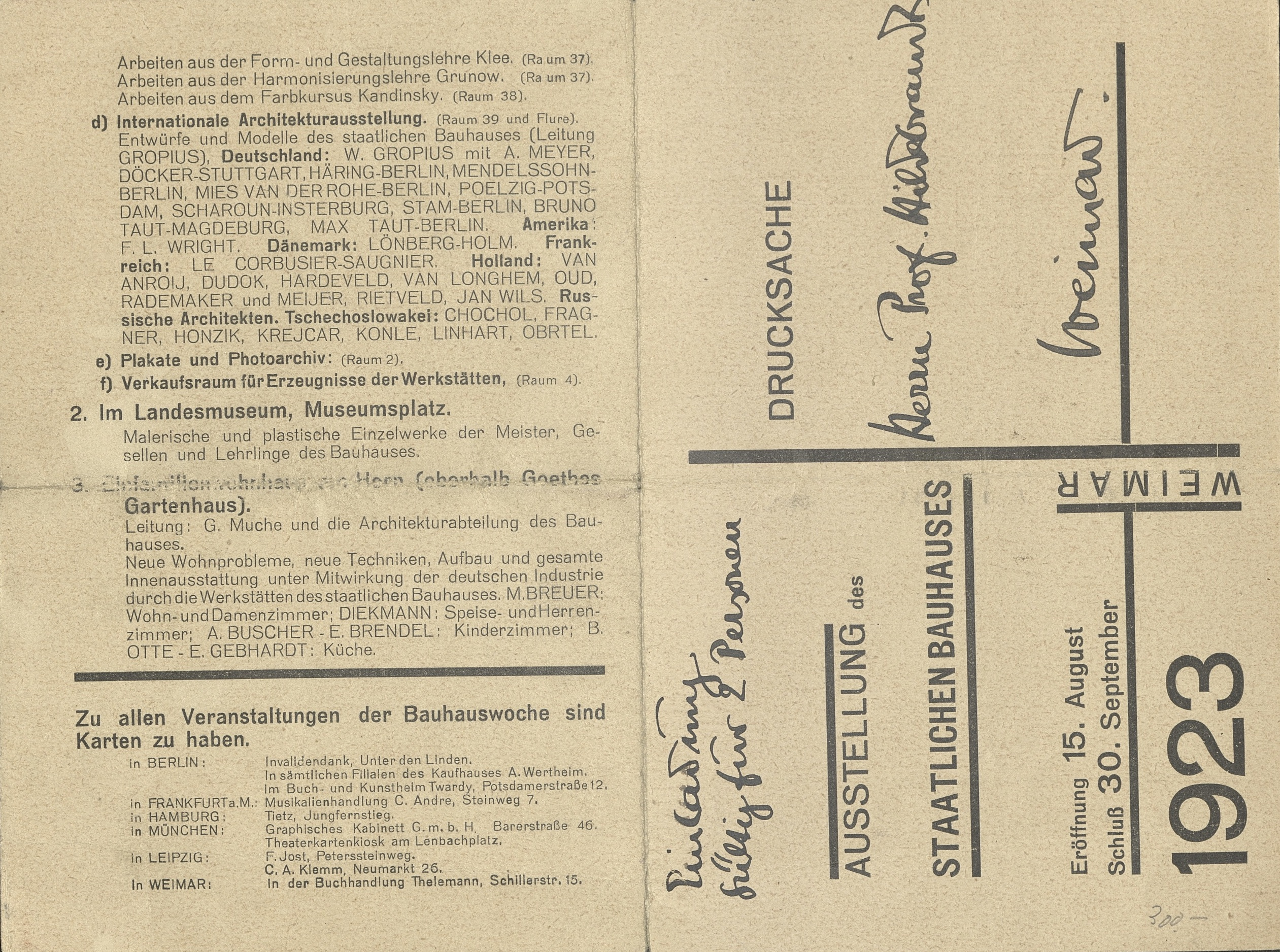 Ausstellung des Staatlichen Bauhauses Weimar, 1923 (Program) Archiv der Avantgarden, Staatliche Kunstsammlungen Dresden