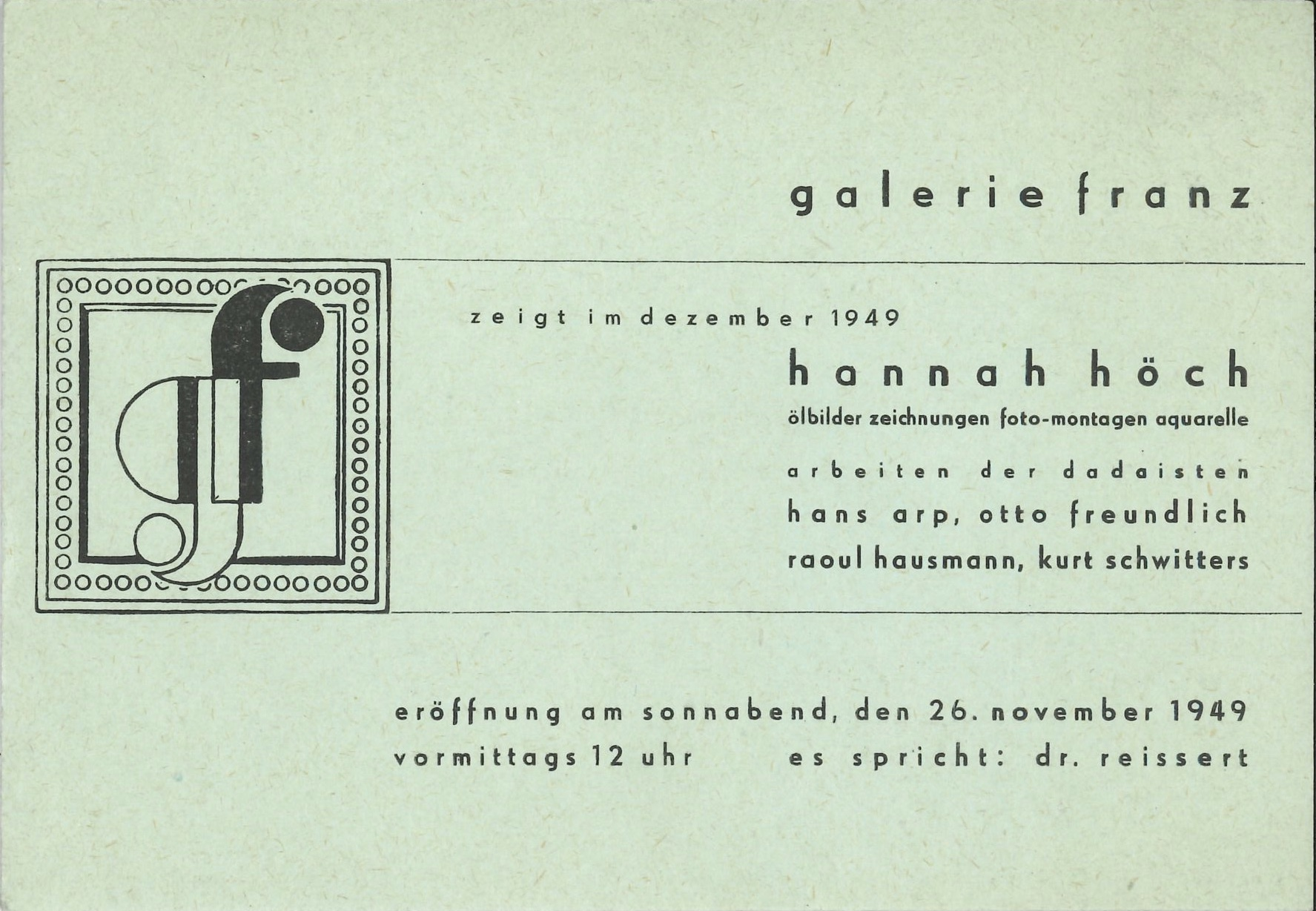 Hanna Höch, Galerie Franz, Berlin, Hanna Höch, 1949 © Archiv der Avantgarden, Staatliche Kunstsammlungen Dresden